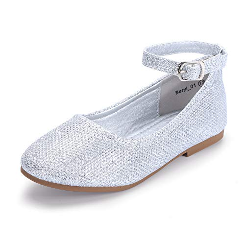 Girls Ballet Flats With Strap (Hehainom Toddler/Little Kid Girl's Beryl_01 Mary Jane Ballet Dress Flats Ankle Strap School Uniform Shoes (Silver Glitter, 8 M US)