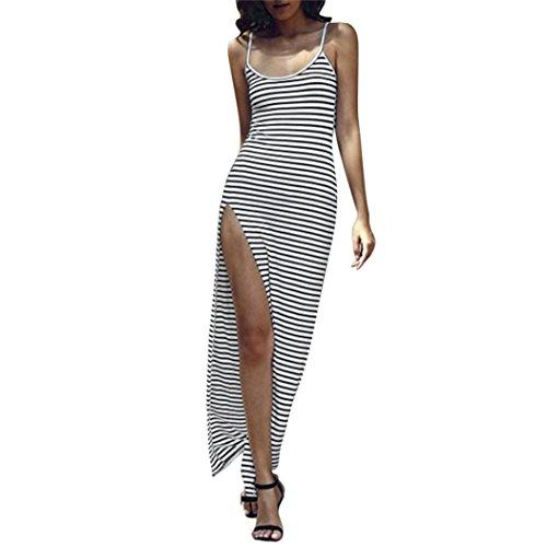 Culater Vestido de largo falda de raya del partido del verano atractivo mujer Blanco