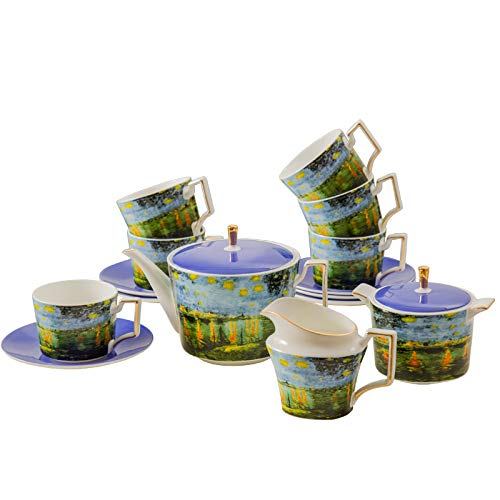 - Tea Set Van Gogh Inspired - Real Bone China Tea Set by Gute (COMPLETE SET, 15 Pieces) : 1 Teapot, 1 Cream Pitcher, 1 Sugar Bowl, 6 Teacups & 6 Saucers.) (Night Over The River Rhine)