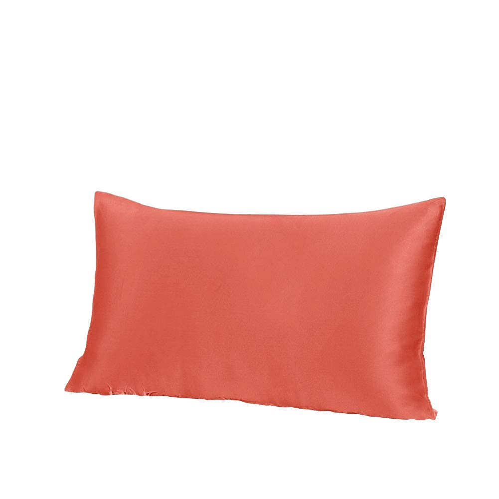 THXSILK 19 Momme Mulberry Silk Pillowcase for Hair and Skin-Pure Natural Silk on Both Sides, Envelope Closure, Hypoallergenic- Great for Child and Travel 12'' x 16'', Coral