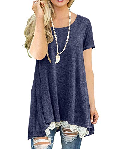 QIXING Women's Lace Short Sleeve Tunic Top Blouse Navy Blue-S