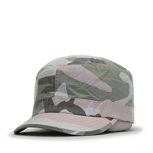 Washed Cadet Cotton Twill Adjustable Military Radar Caps (Vintage Fatigue Pink Camo)