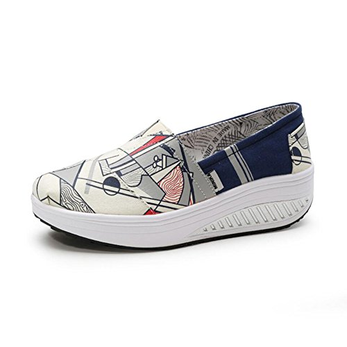 XUE Women's Shoes Canvas Spring Fall Loafers & Slip-Ons Driving Shoes Fitness Shake Shoes Shake Shoes Shaking Shoes Flat Loafers Sneakers printing Casual Athletic Shoes Platform shoes C