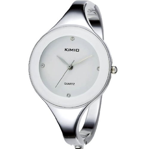 KIMIO Charm Bling Elegant Women Lady White Dial Bangle Bracelet Quartz Wrist Watch