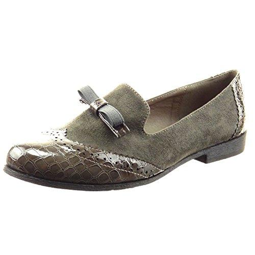 Sopily - Sapatos Da Moda Bailarina Mocassim Pele Nó Da Serpente Das Mulheres Perfurado Cinza