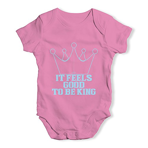 - TWISTED ENVY Funny Bodysuits Baby Grow Onesie It Feels Good to Be King Pink 6-12 Months