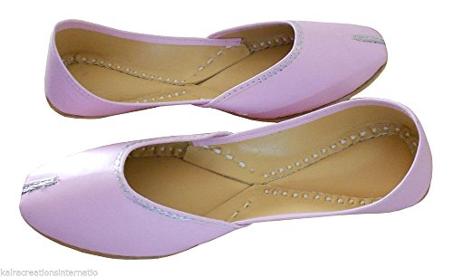 Kalra Creations Women's Traditional Faux Leather Indian Wedding Shoes Pink SJkmXElPd