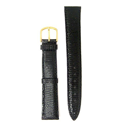 Genuine Lizard Skin 19 Millimeters Long Cut Black Watch Strap (Genuine Lizard Skin)