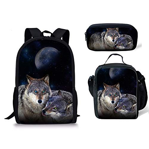 Chaqlin 3 Moyen Fox Noir Cartable Wolf 3pcs 1 xxOFw