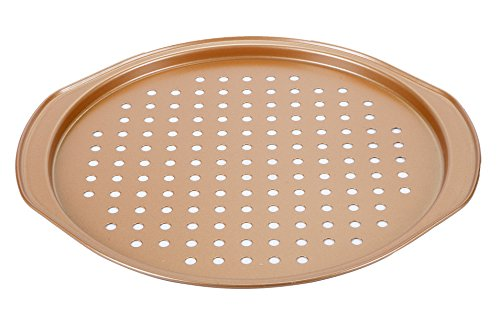 (  Elle Gourmet 13-Inch Pizza Pan with Copper Finish, Baking Tray for Crispy Crust)