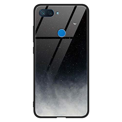 Eouine Xiaomi Mi 8 Lite Case, [Anti-Scratch] Shockproof Patterned Tempered Glass Back Cover Case with Soft Silicone Bumper for Xiaomi Mi 8 Lite Smartphone (Black Gray)