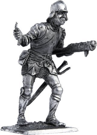 Tin Toy Soldiers Metal Sculpture Miniature Figure Collection 54mm Swiss warrior with hand cannon scale 1//32 M71 15th century