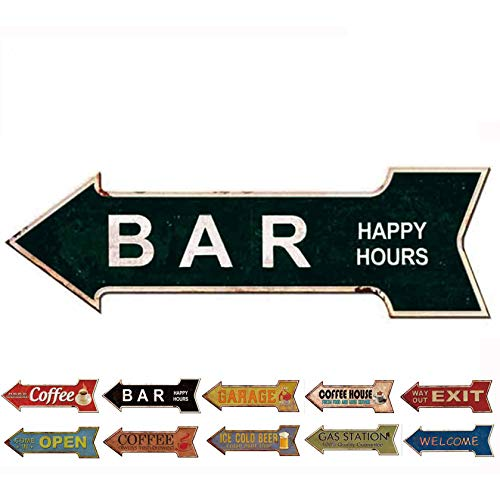 (HANTAJANSS Metal Signs Retro Arrow Embossed Bar Signs for Pub Decoration)