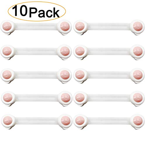Child Safety Cabinet Locks Drawer - 10 Pack Baby Proof Security Latch No Tools 3M ()