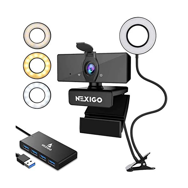 2020 Streaming Kit 1080P Webcam with 2ft 4 Port USB 30 Hub Microphone 35 Inch Selfie Ring Light Mount Stand