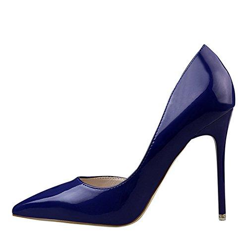 Talon Vernis Haut Bleu Pointu Femme Eté Escarpin Bout Sexy Ouvert Aiguille Chaussures Oaleen Côté Marine fBqvw5