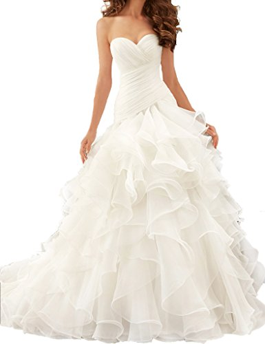 ASBridal Strapless Floor Length Princess Wedding Dresses with Cathedral Train White US 6 (Train Dress Cathedral Wedding)