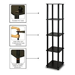 Furinno 99132EX/BK Turn-N-Tube 5-Tier Corner Square Rack Display Shelf, Espresso/Black