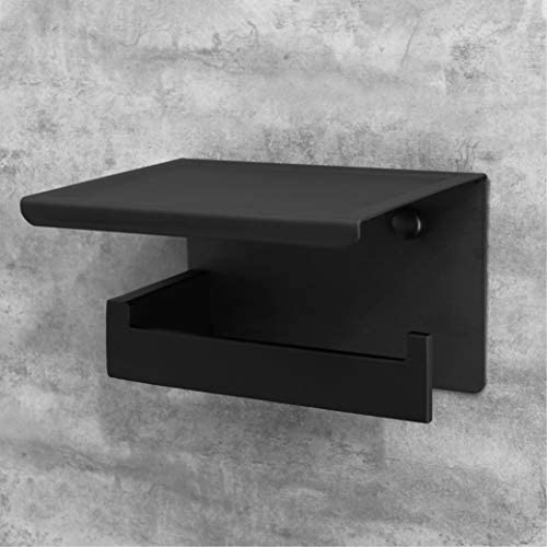 HITSLAM Matte Black Toilet Paper Holder Adhesive, 3M Toilet Paper Holder with Shelf, 3M Adhesive No Drill or Wall-Mounted with Screws for Bathroom