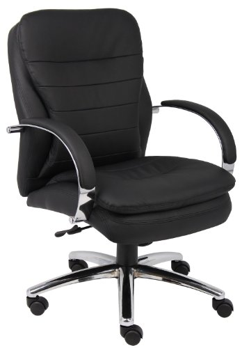Boss Office B9227 Mid Back Caressoftplus Exec. Chair W/ Chrome Base & Knee Tilt - Exec Office Chair