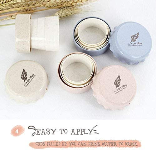 Appearancees Portable Folding Cup Water Tea Wheat Straw Foldable Travel Collapsible Cup