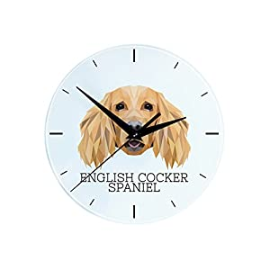 English Cocker Spaniel, Wall Clock with an Image of a Dog, Geometric 13