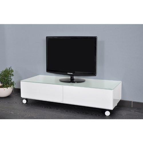 meuble tv blanc laqu 120 cm mexico - Meuble Tv Blanc Sur Roulettes