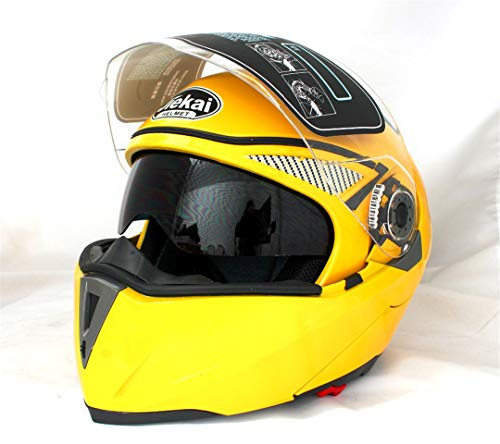 Motorcycle Helmets Flip Up Double Visors Helmet Racing Full Face Moto Sizem-2XL Motorcycle Helmets Yellow XL