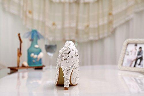Minitoo ,  Damen Plateau White-8cm Heel