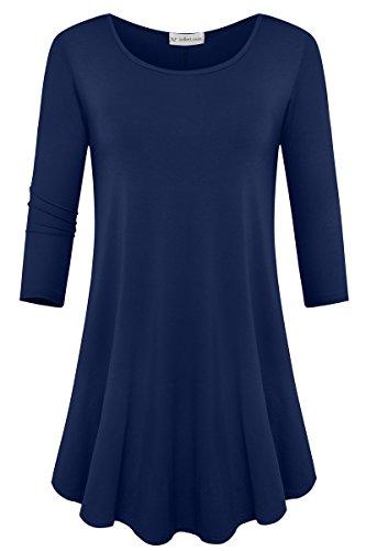 JollieLovin Womens 3/4 Sleeve Loose Fit Swing Tunic Tops Basic T Shirt (Navy Blue, L) by JollieLovin
