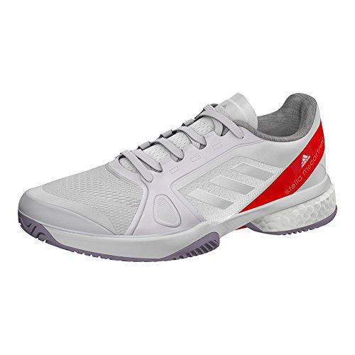 adidas Damen Stella McCartney Barricade Boost Tennisschuhe Weiß und Callistos - (CP9328-S18) Weiß / Dunkel Callistos Rot / Perlgrau