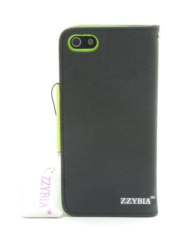 ZZYBIA® IP5 LMZT Black Leatherette Case Card Holder Wallet with a Eiffel Tower Fringed Dust Plug Charm for Apple Iphone 5 5s