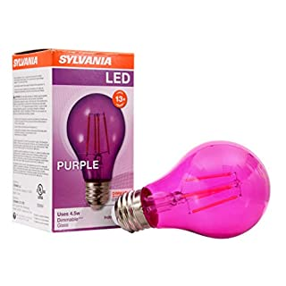 SYLVANIA General Lighting 40305 Purple Filament A19, Colored Glass Lamps, 4.5 Watts, for Decorative and Accent Ultra LED Light Bulb,A19 Medium Base