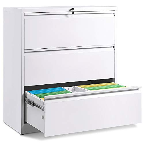 3 Drawers Lateral File Cabinet, Lockable Heavy Duty Filing Cabinet, Steel Construction White Curve