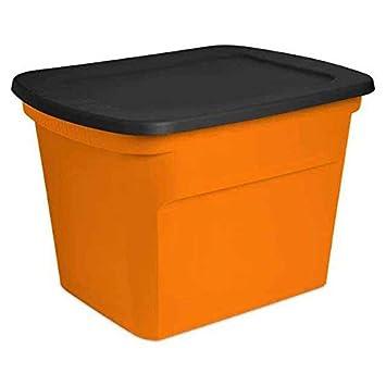 Sterilite 18 Gallon Orange U0026 Black Storage Holiday Tote