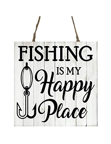 MaxwellYule Fishing is My Happy Place Printed Handmade Wood Christmas Ornament Small Sign