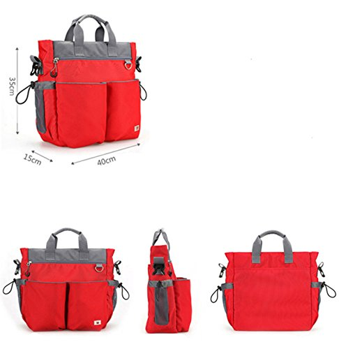 BigForest Multifunction 3 pieces in 1 set Mummy Travel shoulder Bag Tote Handbag Baby Diaper Nappy Changing Bag Red