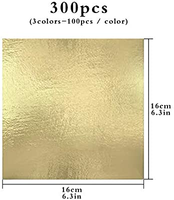 100 Sheets 16x16cm Gold Leaf Sheets Gold Leaf Silver Leaf Rose Gold Leaf Foil Paper for Gilding Crafting DIY Arts Project Crafting Decoration Cake Decorating Makeup Health Spa Art Craft Work Rose Gold