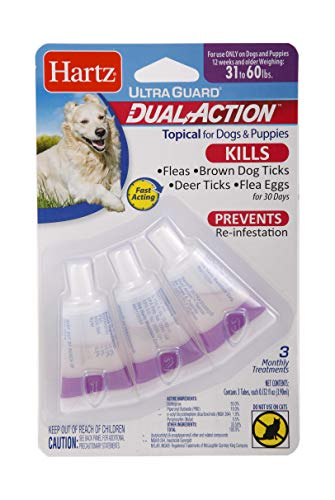 - Hartz UltraGuard Dual Action Topical Flea & Tick Treatment for Dogs and Puppies - 31-60lbs, 3 Monthly Treatments