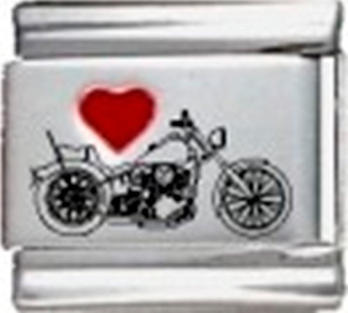 Stylysh Charms Motorcycle Love Motorcycles RH Laser Italian 9mm Link SP065 -