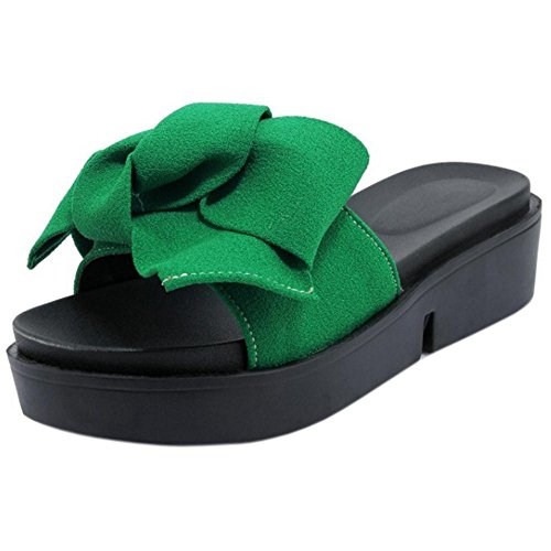 Sliders Women's Slippers Summer Bow Shoes Green TAOFFEN Stqf7S