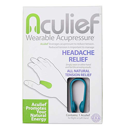 Aculief- Award Winning Natural Headache and Tension Relief - Wearable Acupressure (Teal)