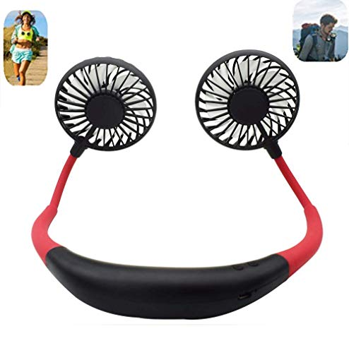 Portable Sports Neck Hanging Fan,USB Rechargeable 2000mAh Hands-Free Mini Fan, Pocket Fan, Travel Fan, Earphone Design Mini USB Fan,Wearable Necklance Fan With LED Double Wind - Sports Fan Hanging