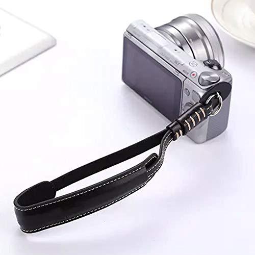 Camera Wrist Strap Grip, Retro Leather Adjustable Camera Wrist Lanyard Hand Strap for Nikon Sony Panasonic Fujifilm Fuji Lumix DSLR,(1 pcs)(Black)