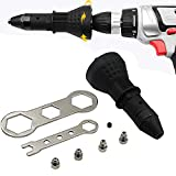 Loneflash Electric Rivet Gun,Cordless Riveting Drill Adaptor Insert Nut Tool Riveting Riveter Gun Kit Professional Rivet Riveting Hand Tool Power Machine Accessory (Black)