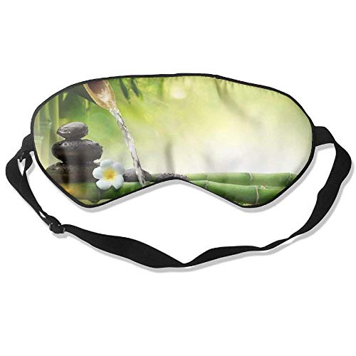 Sleep Mask Spa Stone White Orchid Bamboo Flow Water Unisex Eyepatch Mask Eye Cover by Cubead
