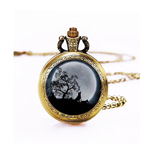 Wild Pocket Watch (Skyboby HOWLING WOLF MOON pocket watch Pendant Full Moon Jewelry Wolf watch Pendant Nature Wildlife watch Jewelry full Moon watch)