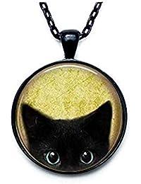 Black Cat Necklace - Peeking Black Cat Pendant - Cute Black Cat Jewelry