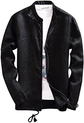 春 夏 綿麻 リネン アウター ジャケット コート メンズ 男性用 カジュアル スタジャン 長袖 立ち襟 シンプル 細身