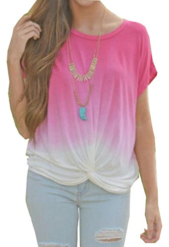 Ombre Scoop (xiaokong Women's Short Sleeve Ombre Scoop Neck Comfy Vogue Loose Tunic As picture L)